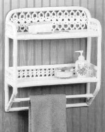 wicker furniture - wall shelf with towel bar #4381