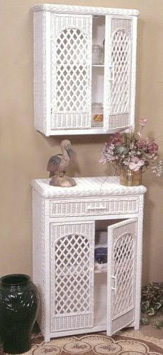 wicker furniture - wall shelf #4583  floor cabinet #4584
