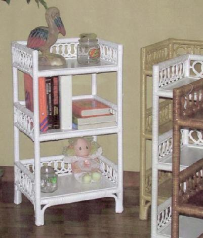 wicker furniture - three tier floor shelf #4412