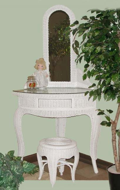 wicker furniture - corner vanity #4360