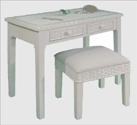 wicker furniture - vanity with bench #4284