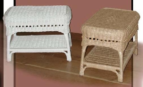 Wicker Org Wicker Footstool Ottoman Cushions Indoor