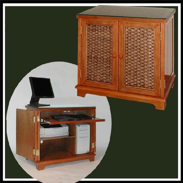 wicker furniture - computer cabinet #4284C