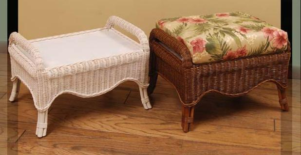 Wicker Org Wicker Footstool Ottoman Cushions Indoor