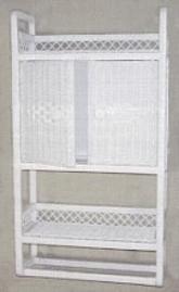 wicker furniture - bath wall shelf with towel bar #4299