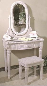 wicker vanity with bench #4070