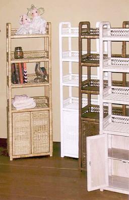 tall narrow wicker shelf #4365