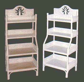 Wicker Furniture   Bakers Rack #4562. Four Tier Wicker Floor Shelf ...
