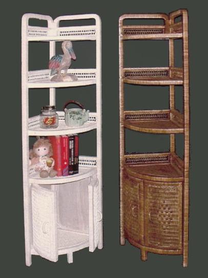 wicker furniture - corner shelf with doors #4120