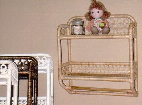 wicker furniture - towel bar wall shelf #4381