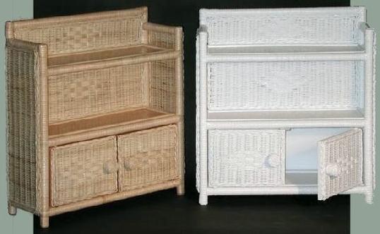 2 tier 2 door wicker cabinet #4803