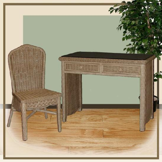 wicker furniture - desk & chair #4774