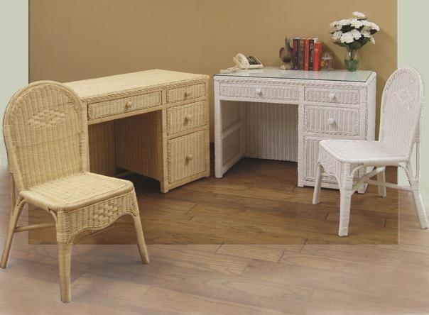wicker desk & chair #4258