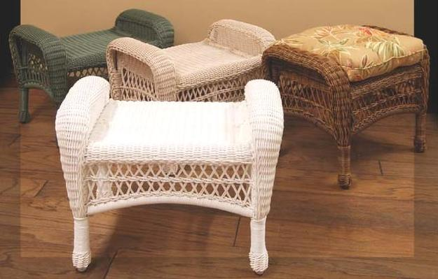 Wicker Storage Ottoman Rattan Footstool